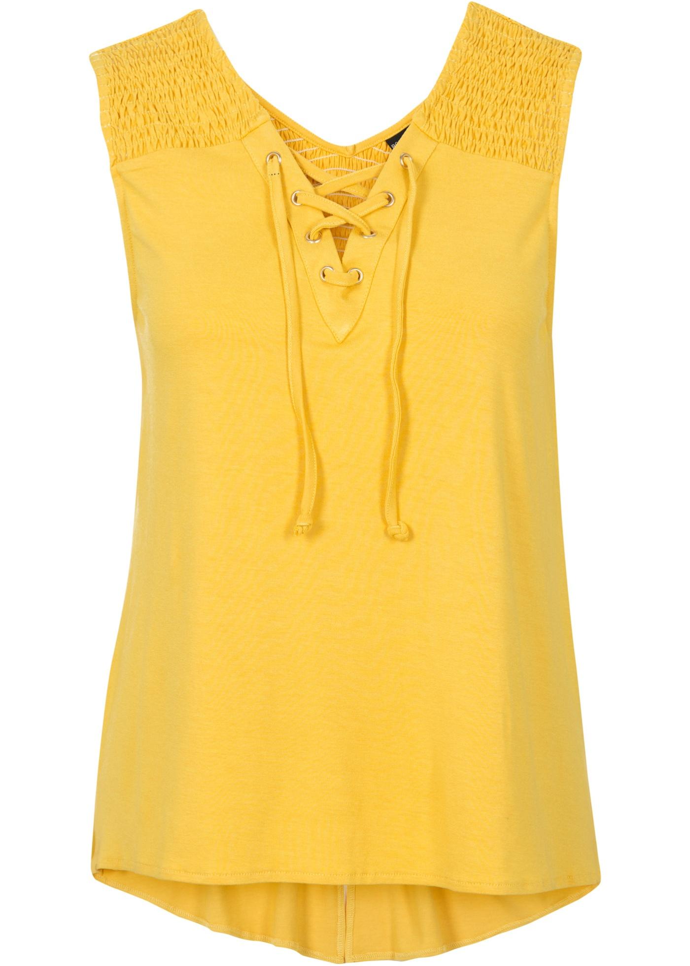 Bodyflirt Top mit Schnürung ohne Ärmel  in gelb für Damen von bonprix