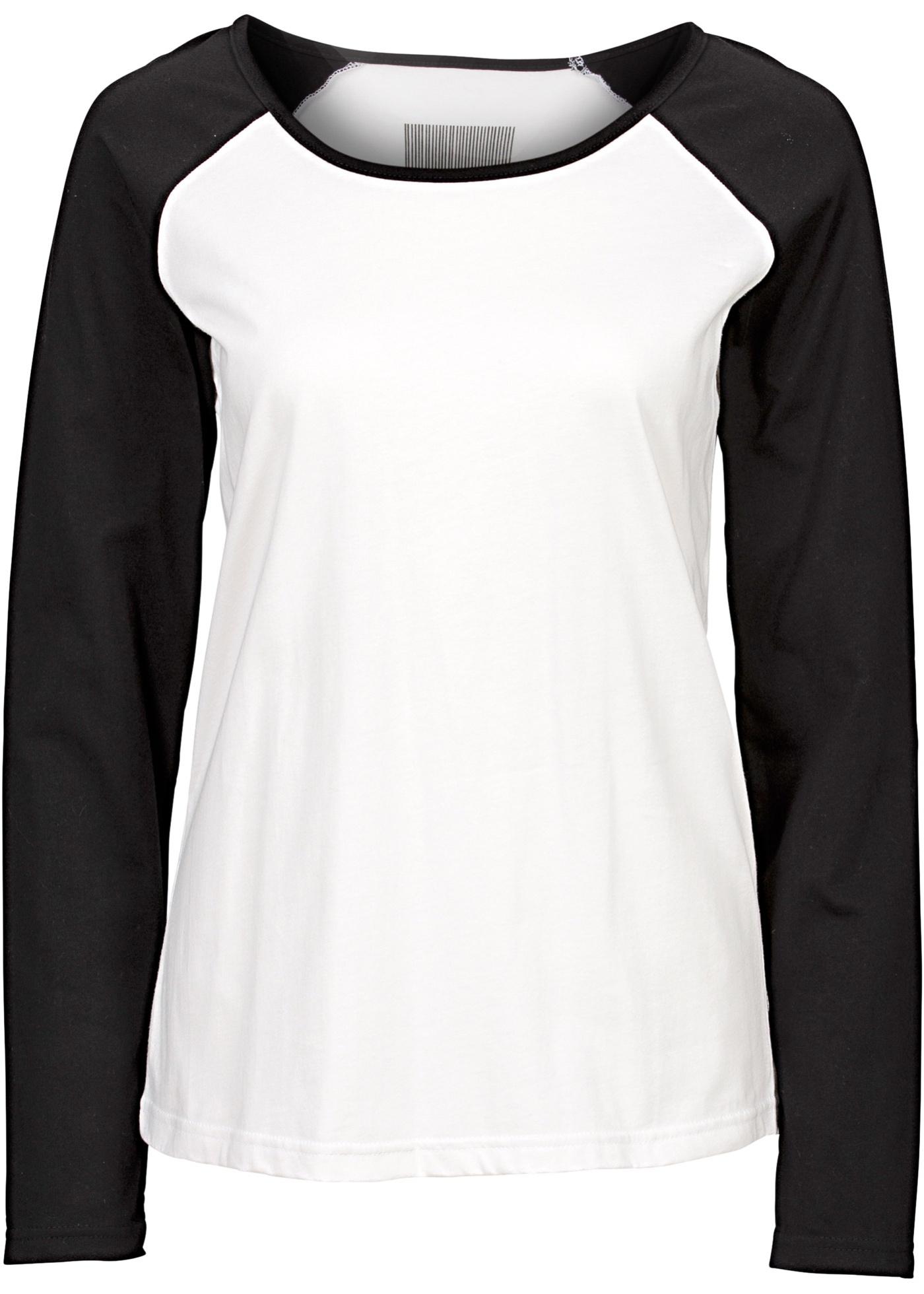 Camiseta raglan branca manga longa com decote redondo