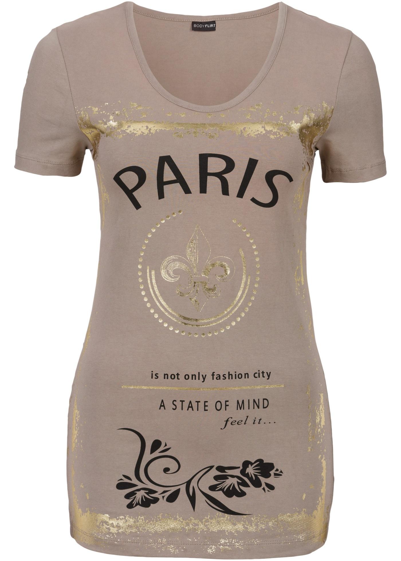 Camiseta estampada marrom manga curta com decote redondo