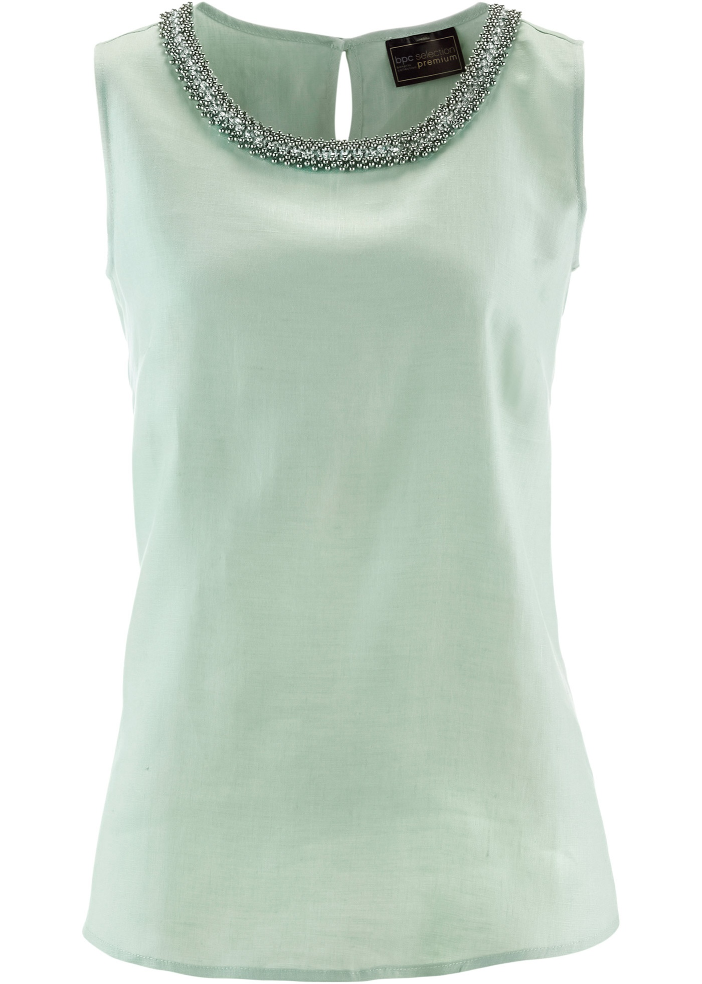Blusa de linho com pedrarias verde sem mangas com decote redondo