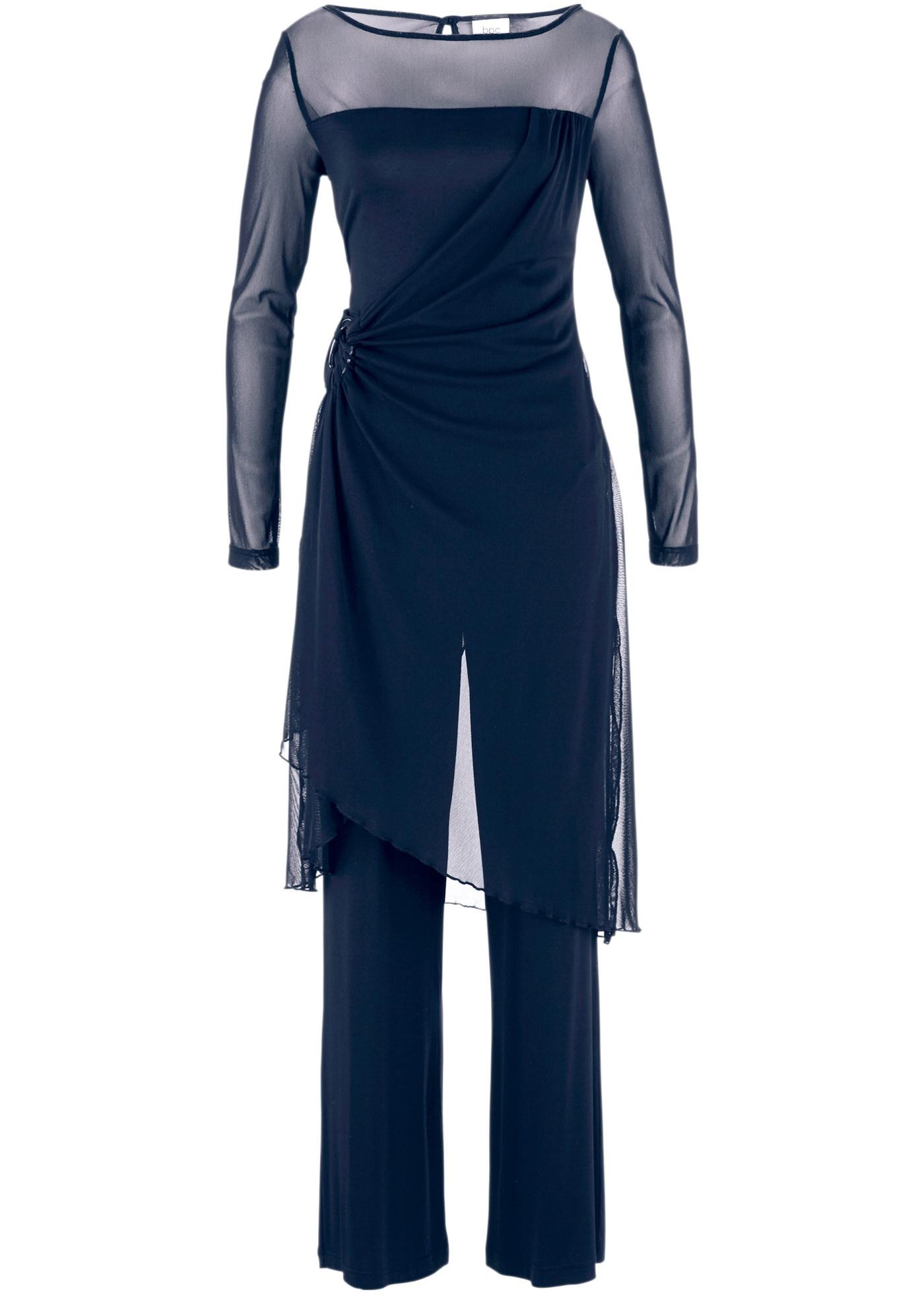 bpc bonprix collection Abend-Hosenanzug (2-tlg. Set) langarm  in blau für Damen von bonprix