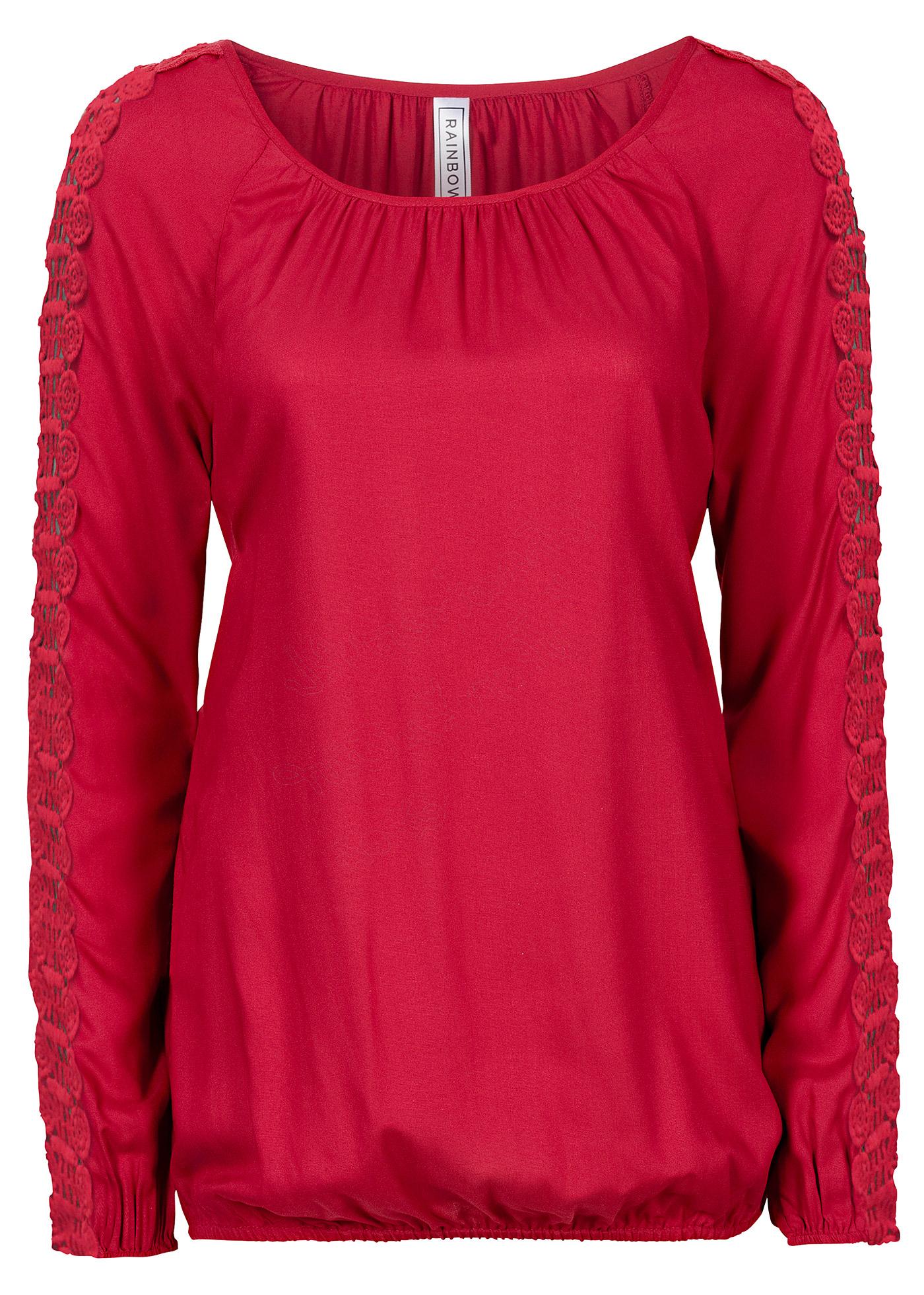 Bata com detalhes de crochê vermelha manga longa com decote redondo