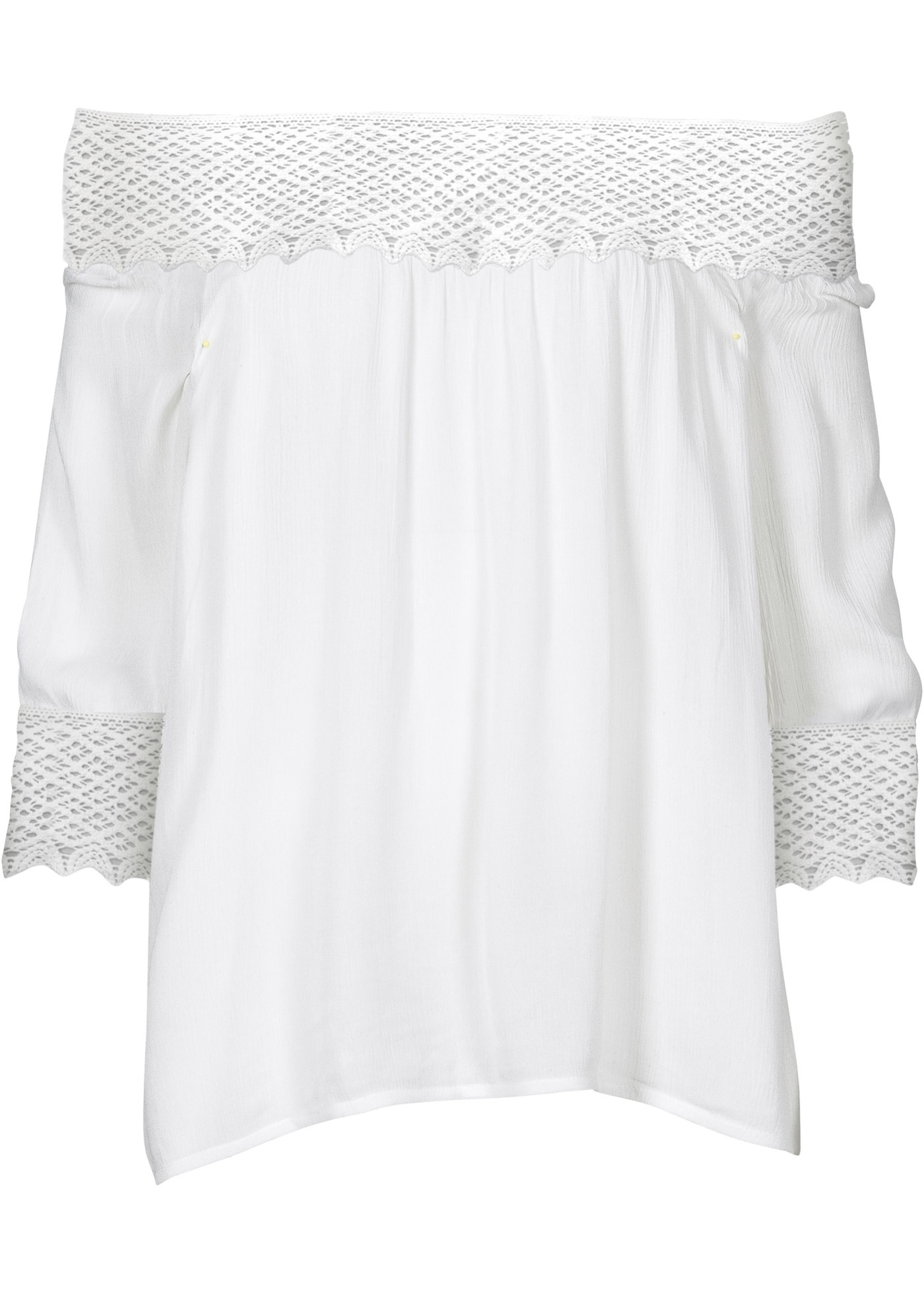 Blusa ombro a ombro com crochê branca manga 7 / 8 com decote cigana
