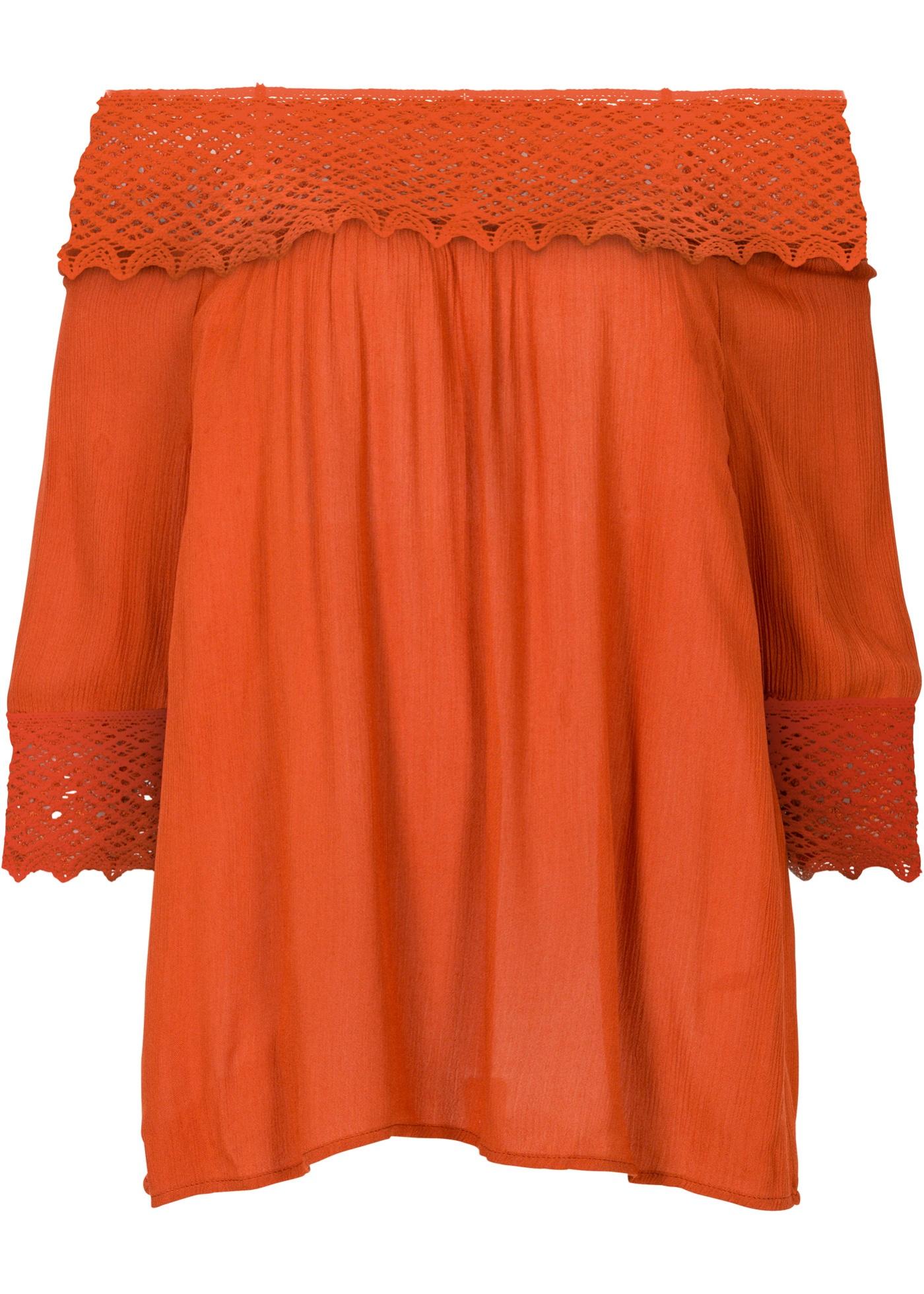 Blusa ombro a ombro com crochê laranja claro manga 7 / 8 com decote cigana