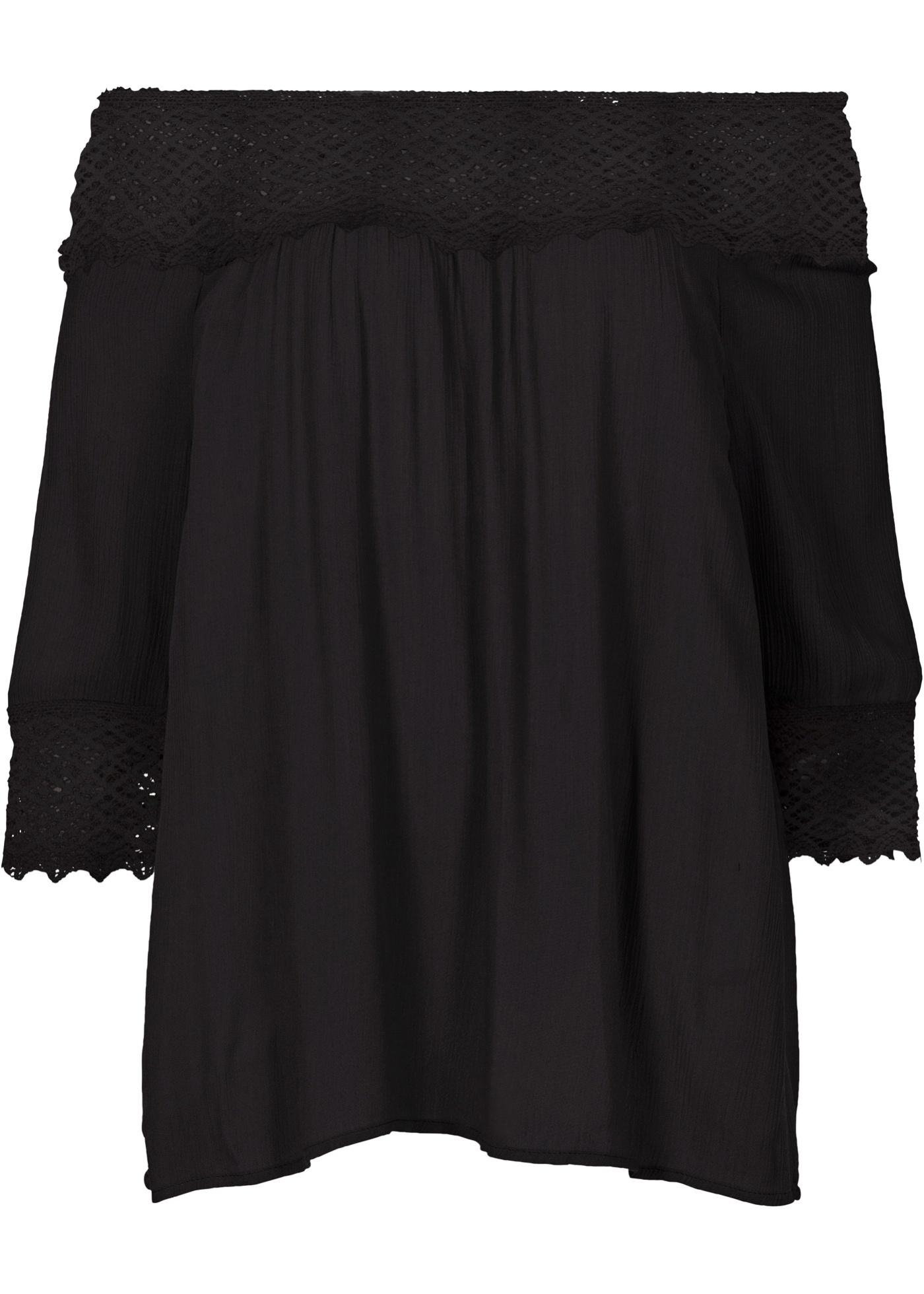 Blusa ombro a ombro com crochê preta manga 7 / 8 com decote cigana