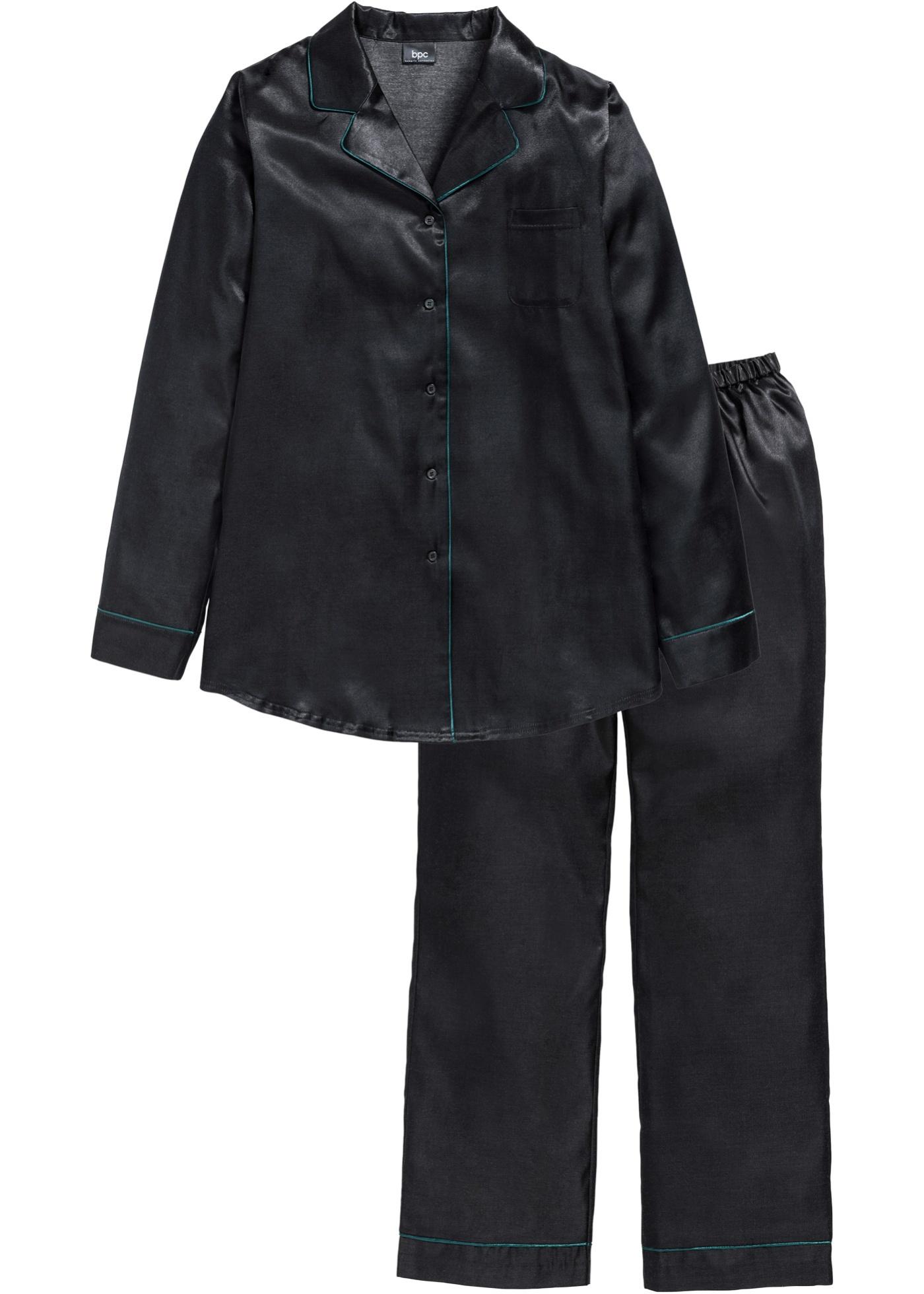 bpc bonprix collection Satin-Pyjama langarm  in schwarz für Damen von bonprix