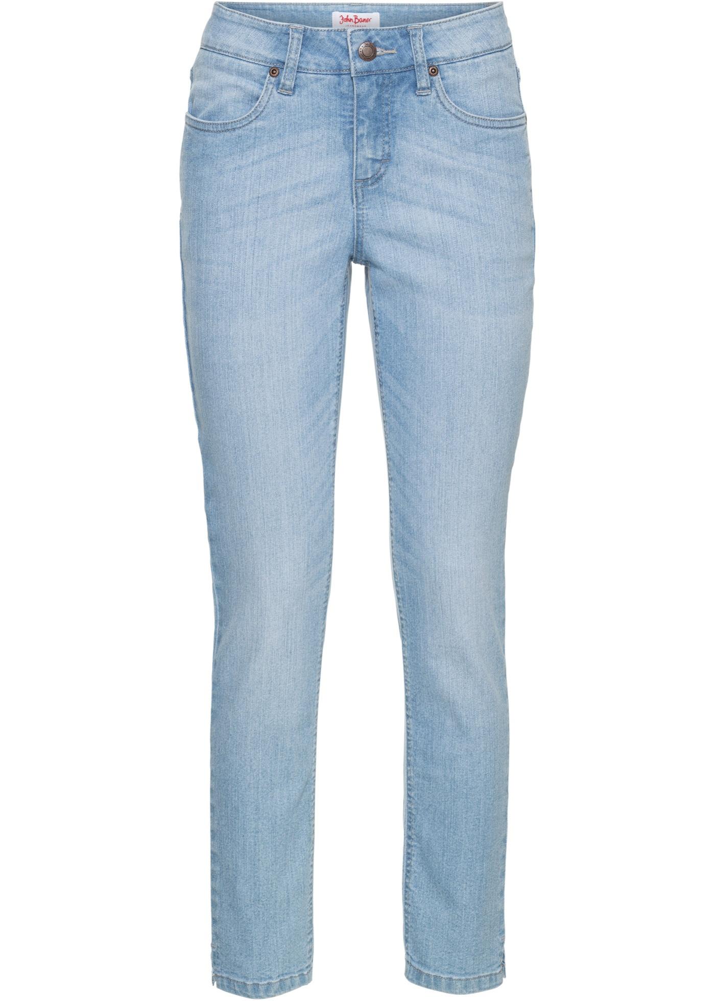 7/8-Stretch-Jeans mit Schlitz, Normal