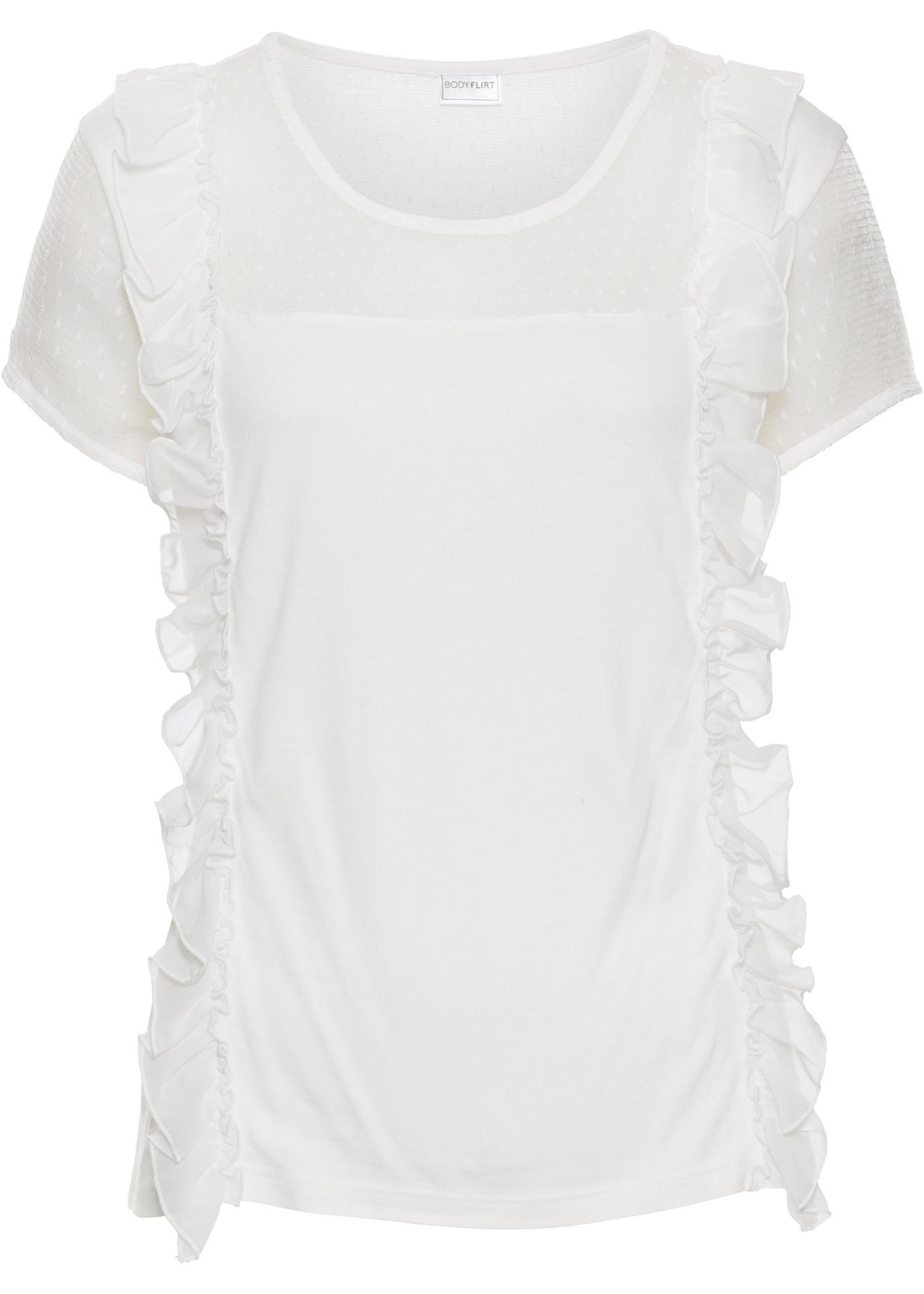 Shirt mit Rüschen und Netzeinsätzen jetztbilligerkaufen