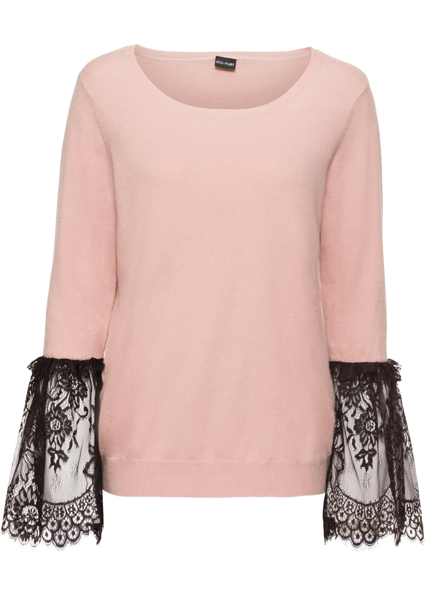 Pullover mit Spitzenbesatz am Ärmel jetztbilligerkaufen