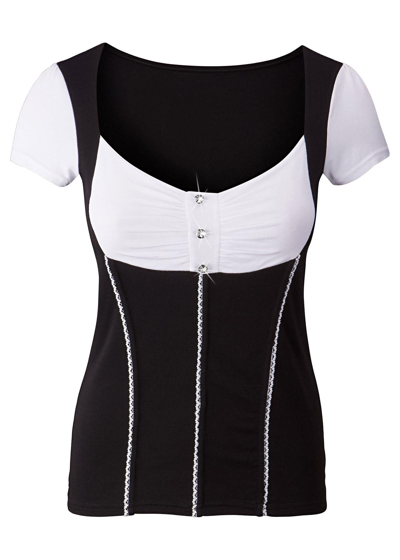 Blusa modelo corpete preta manga curta com decote quadrado