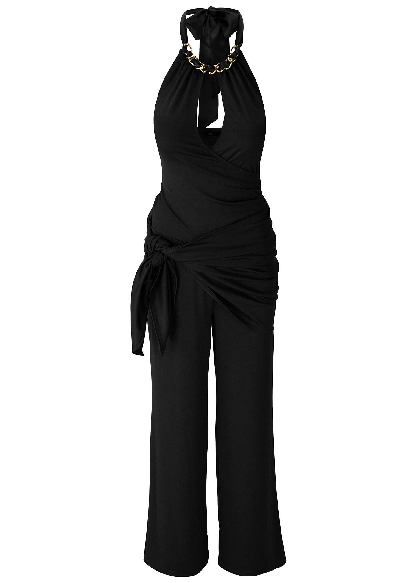Overall langarm  figurbetont  in schwarz (Rundhals) für Damen von bonprix Damenmode > Damenbekleidung > Hosen > Overalls