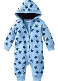 Baby Sweat Overall Bio-Baumwolle, bpc bonprix collection, hellblau meliert