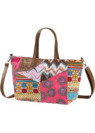 Patch-Mix Shopper, bpc bonprix collection, pink/cognac multi