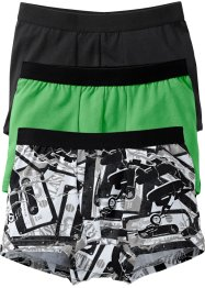 Lot de 3 boxers, bpc bonprix collection, noir/vert amande/blanc