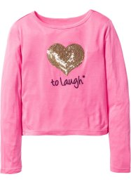 Shirt mit Paillettenapplikation, bpc bonprix collection, pink