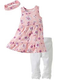 Robe + bandeau + legging 3/4 (Ens. 3 pces.), bpc bonprix collection, rose clair/blanc
