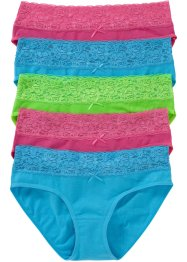 Lot de 5 slips, bpc bonprix collection, turquoise/fuchsia/vert