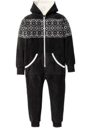 Fleece Overall mit Kapuze, bpc bonprix collection, anthrazit meliert/wollweiß