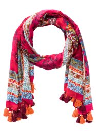 "Bunter Schal ""Paisley"" mit Troddeln, bpc bonprix collection, pink/orange"