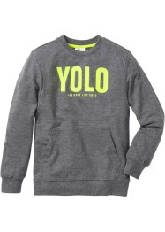 Sweatshirt med neontryck, bpc bonprix collection, gråmelerad