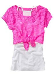 T-shirt en dentelle + top (Ens. 2 pces.), bpc bonprix collection, rose fluo/blanc