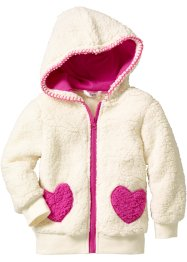 Teddyfell Jacke, bpc bonprix collection, cremeweiss/fuchsia