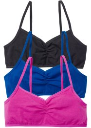 Bustier (pacco da 3), bpc bonprix collection, Nero + bluette + fucsia