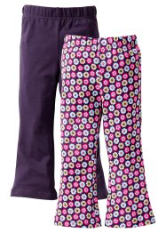 Lot de 2 leggings, bpc bonprix collection, violet/fleurs