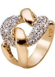 Ring mit Kristallsteinen, bpc bonprix collection, goldfarben