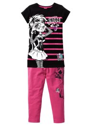 T-shirt long + legging corsaire MONSTER HIGH (Ens. 2 pces.), bpc bonprix collection, noir/fuchsia moyen