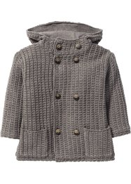 wattierte Jacke im Strickdesign, bpc bonprix collection, grau