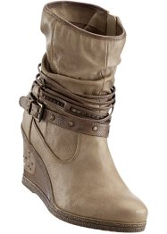 Keilstiefelette, Mustang, taupe