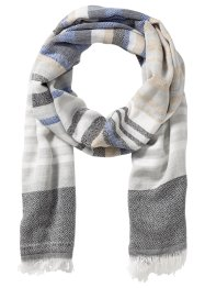 Gestreifter Schal, bpc bonprix collection, blau/grau
