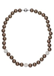 Collier Serie Muschelkernperlen, bpc bonprix collection, dunkeltaupe matt