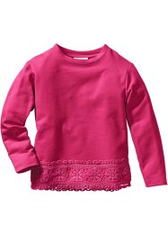 Dantelli sweatshirt, bpc bonprix collection, koyu pembe