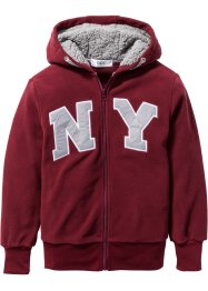 Fleecejacke mit Applikation, bpc bonprix collection, bordeaux