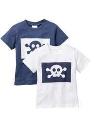 T-Shirt (2er-Pack), bpc bonprix collection, weiß+indigo