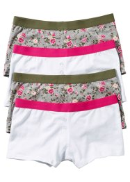 Damen Boxer (4er-Pack), bpc bonprix collection, hellgrau meliert bedruckt
