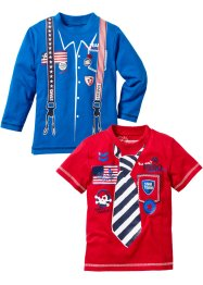 T-Shirt+Langarmshirt (2er-Pack), bpc bonprix collection, azurblau+rot