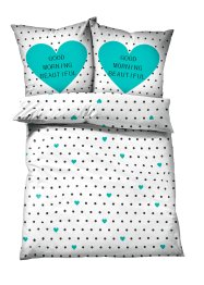 Linge de lit Beautiful, bpc living, blanc/turquoise