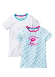 Lot de 2 T-shirts, bpc bonprix collection, blanc+blanc/turquoise imprimé