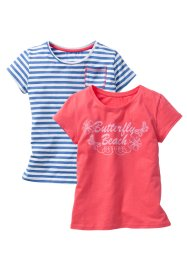Lot de 2 T-shirts, bpc bonprix collection, fuchsia clair/bleu ciel rayé