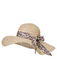 Cappello con nastro leopardato, bpc bonprix collection, Marrone