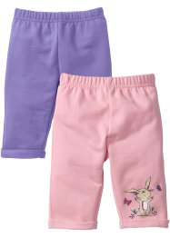 Lot de 2 pantalons sweat bébé en coton bio, bpc bonprix collection, violet clair/rose poudré