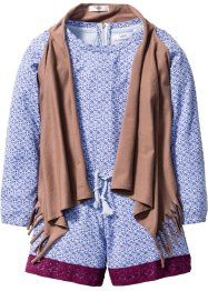Combinaison + gilet (Ens. 2 pces.), bpc bonprix collection, marron+lilas imprimé