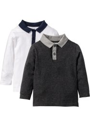 Langarmshirt mit Polokragen (2er-Pack), bpc bonprix collection, anthrazit meliert+weiß