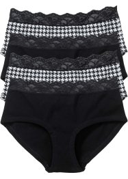 Panty (4er-Pack), bpc bonprix collection, schwarz/weiß gemustert