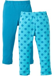 Leggings (2er-Pack), bpc bonprix collection, aqua bedruckt+dunkeltürkis