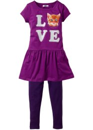 Kleid + Leggings (2-tlg.Set), bpc bonprix collection, bedruckt dunkellila/pfingstrose