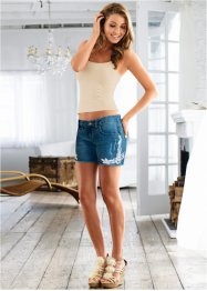 Shorts jeans stretch com renda